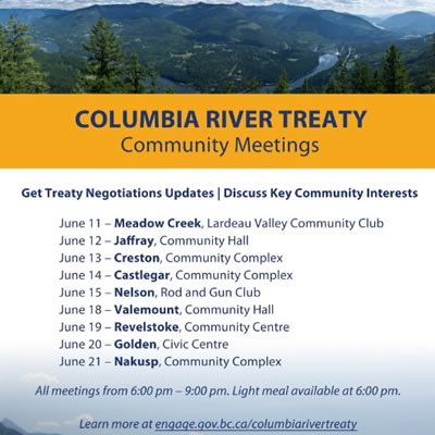 Columbia River Treaty meeting dates.