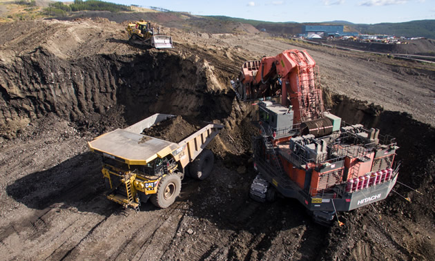 A haul truck is being loaded at one of Conuma Coal's mines near Tumbler Ridge, B.C.