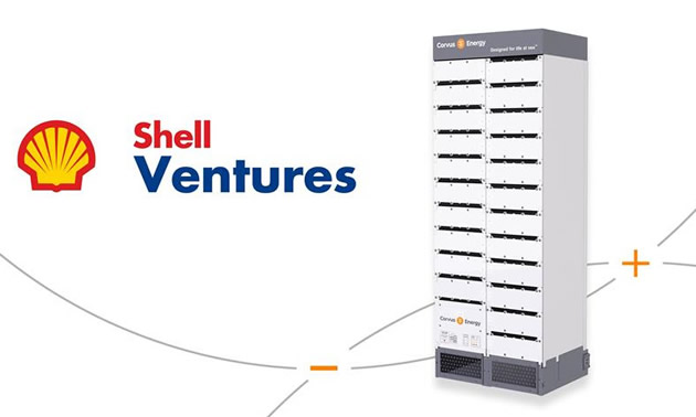 Logo of Shell Ventures with picture of Corvus Energy cell.