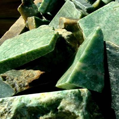 Close-up of rough jade pieces.