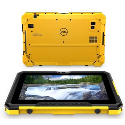 The Dell Latitude 7220EX Rugged Extreme tablet, yellow case.