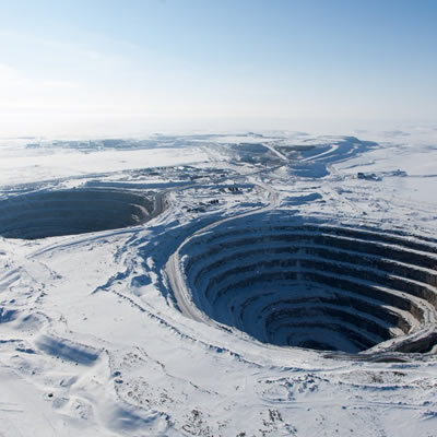 Aerial view of the Diavik Diamond Mine in the Northwest Territories, Canada.