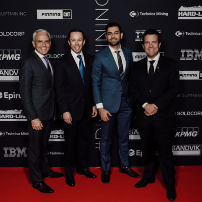 President and CEO of Goldcorp David Garafolo and Arthur Gooch and Sohail Nazari of Andritz Automation with #DisruptMining host Rick Mercer.