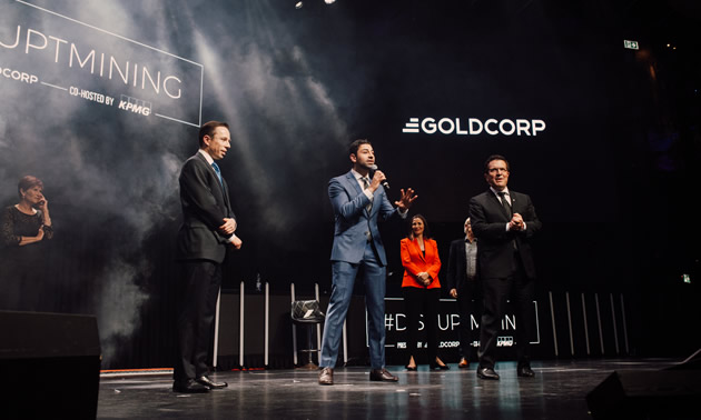 Sohail Nazari on stage at Goldcorp 2019 #DisruptMining competition.