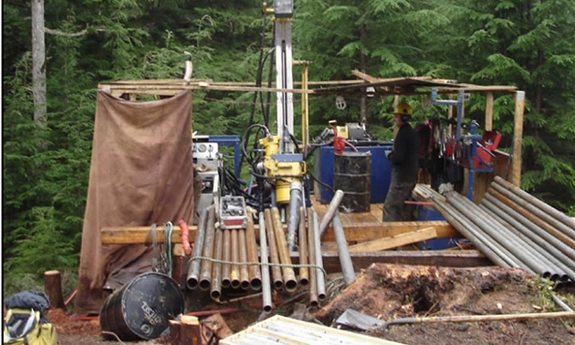 A drill rig set up at the Black Dog deposit.
