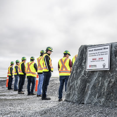 Representatives from Northern communities, government, the union, employees and contractors, and business associations gathered at the 20th Anniversary of the Ekati Mine.