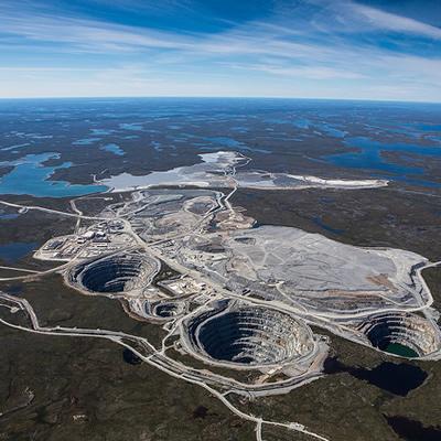 Aerial view of the Ekati Mine.