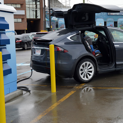 A Tesla vehicle at the official opening of the Cranbrook Electric Vehicle DC Fast-Charging Station in Cranbrook, B.C.