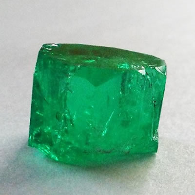 A 25.97 carat emerald, found at the Coscuez Colombian Emerald Mine in Colombia.