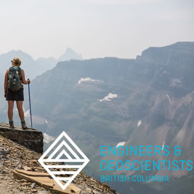 Person standing on mountaintop, with logo for Engineers and Geoscientists BC.