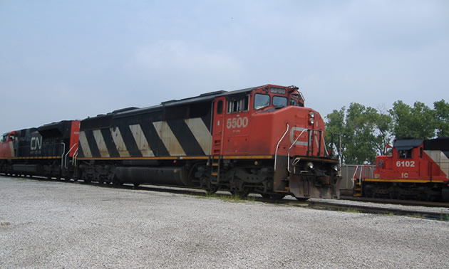 Close up picture of CN train locomotive.