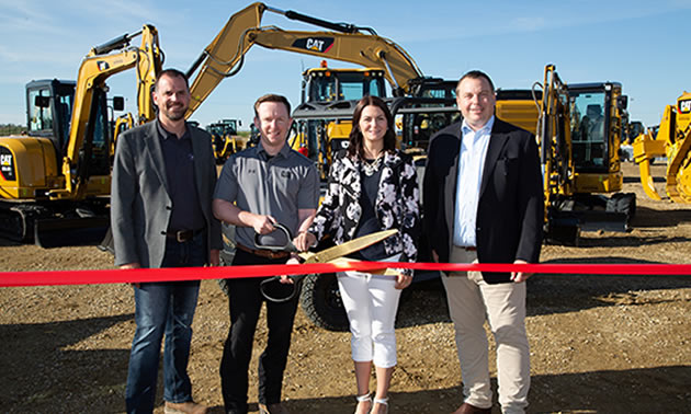Opening of the Used Equipment Supercentre in Acheson, AB. Pictured above (l-r): GM, Alberta Core Industries, Darren Riley, Used Equipment Supercentre branch manager, Chris Ireton, Parkland County Business Development Officer, Robynn Holstein and SVP rental and strategy Jordan Reber.