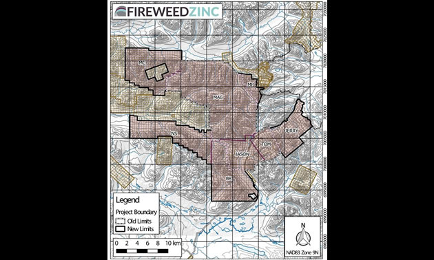 Fireweed Zinc property - new acquisitions map.