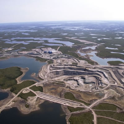 Aerial view of the Gahcho Diamond Mine, located in Canada's Northwest Territories.