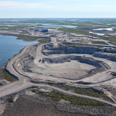 Aerial view of Gahcho Kue in the Northwest Territories.
