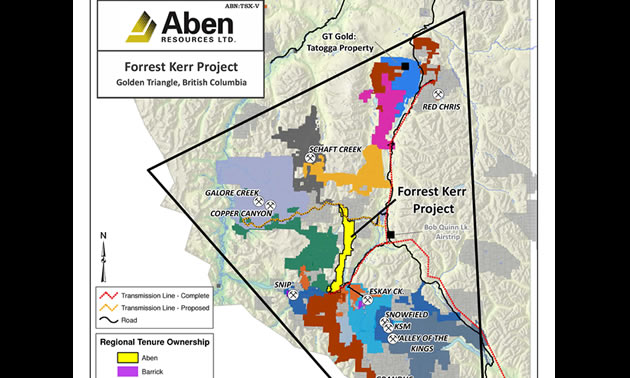 Map of the Forrest Kerr Gold Property, located in northwestern BC's Golden Triangle region.