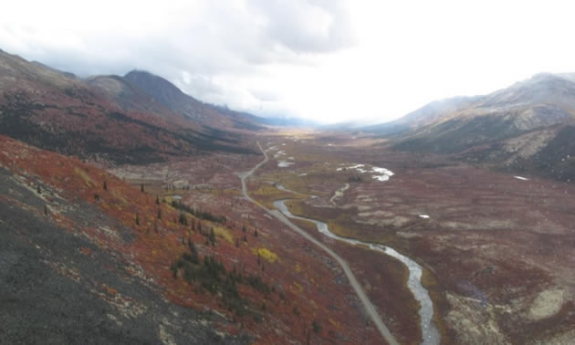 An aerial view of the Golden Culvert Project site in Canada's Yukon.