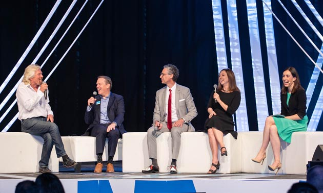 Richard Branson (far left), founder and president of Virgin Atlantic Airways Ltd., was the headliner at Energy Disruptors Unite 2018. Also shown are (from L to R) Dave Mowat (former president and CEO of ATB Financial), Peter Tertzakian (chief energy economist and managing director of ARC Financial Corp), Susan Cain (author) and Holly Ransom (Energy Disruptors co-founder and host).