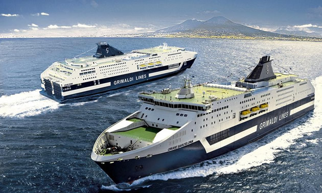 """Two Ro-Pax cruise ferries """"Cruise Barcelona"""" and """"Cruise Roma""""."""
