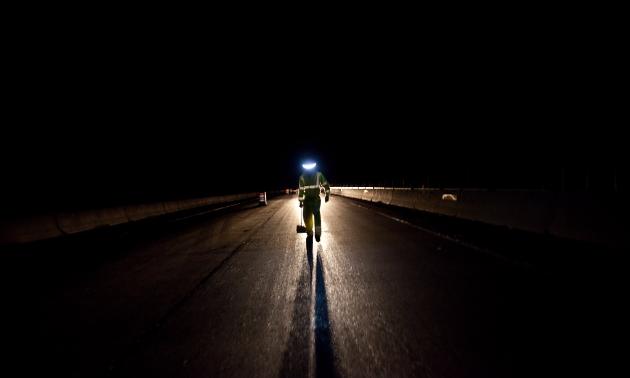 Man illuminated by halo light