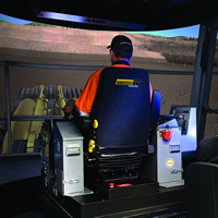 Interior photo of the Pro3 Transportable Simulator to be used for COTR Haul Truck Operator training in Cranbrook and Fernie.
