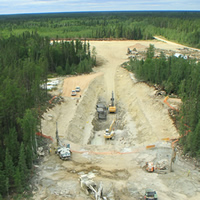 Aerial view of work site