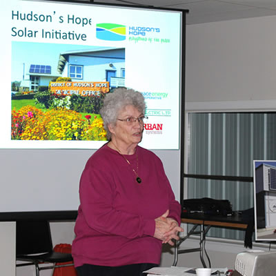 Hudson's Hope Mayor, Gwen Johansson,  discussing solar.