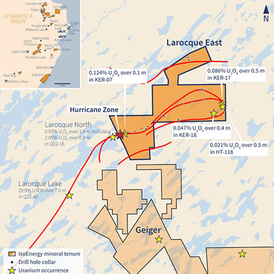 Inset map of the Larocque East Property, home to the world's largest and highest-grade uranium mines.