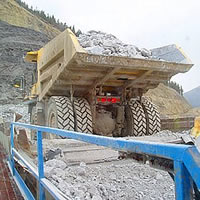 Dump truck filled with