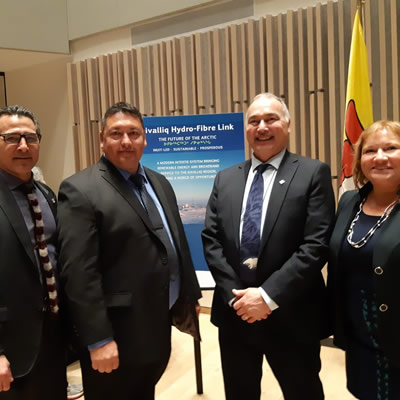 David Ningeongan, president of the Kivalliq Inuit Association, MP Yvonne Jones and associates at Hydro link announcement.