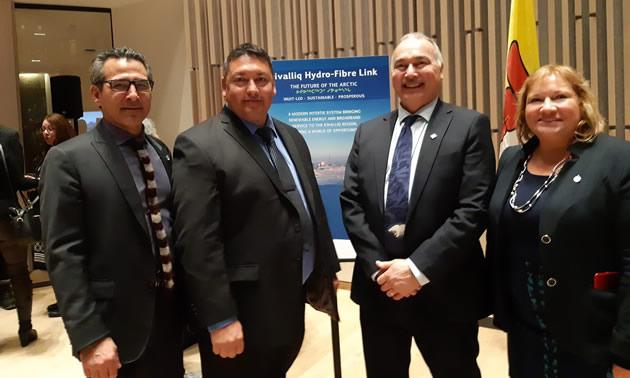 David Ningeongan, president of the Kivalliq Inuit Association, MP Yvonne Jones and associates at Hydro link announcement.