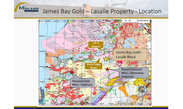 James Bay Gold, Lasalle Property location.