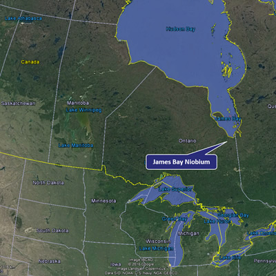 Map of Canada, showing the location of the James Bay Niobium Project in northern Ontario.