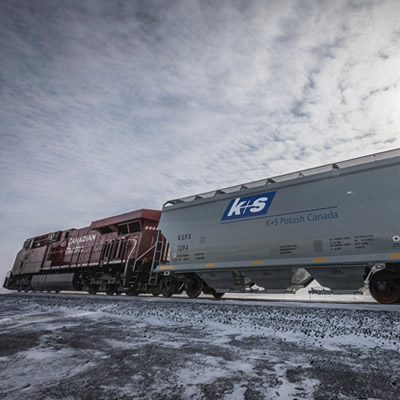 K+S Potash rail cars.