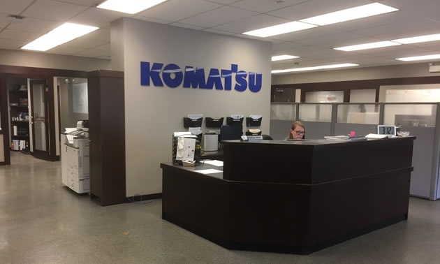 Spacious new offices for the Komatsu staff.