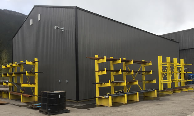 Metal and supply storage for the company.