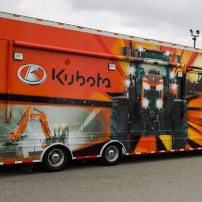 Kubota Canada will move to a new Headquarters in 2019, pictured here is the company's mobile display unit.
