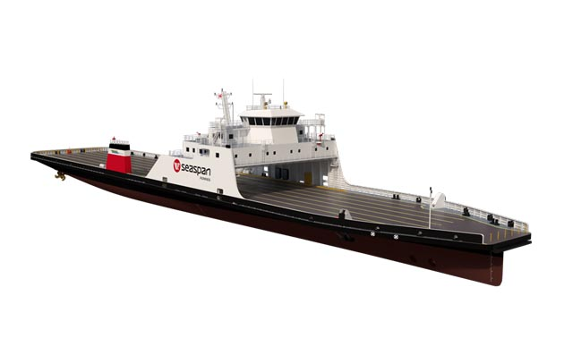 Rendering of the new Seaspan Ferries LNG-battery hybrid ferries that will integrate 2 MWh energy storage system from Corvus Energy to reduce fuel consumption and emissions.