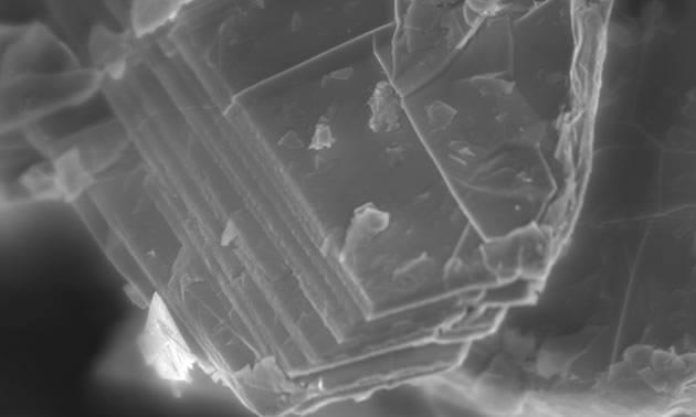 A magnification of a graphite flake.