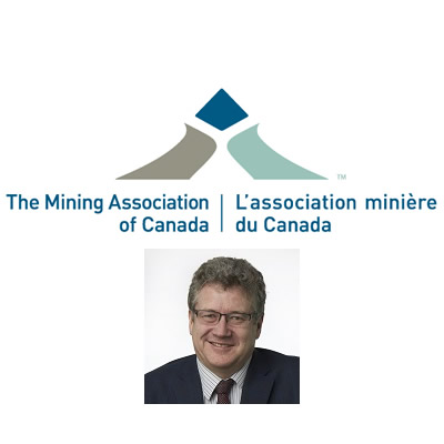 Logo for Mining Association of Canada, and picture of Gordon Stothart.