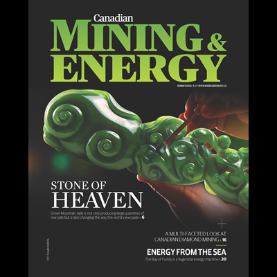 Cover of Mining and Energy magazine, with picture of green jade.