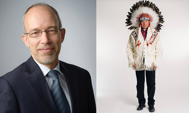 (Left) Duane Gingrich, Senior Vice President, North America for Amec Foster Wheeler's Mining business; (right) Chief Reg Bellerose, President of Muskowekwan Resources Ltd., Saskatchewan's first wholly-owned First Nations mining company.