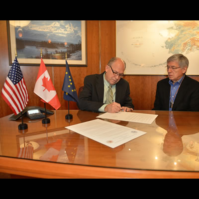 Alaska's Governor Bill Walker Signs MOU with British Columbia to protect shared environment.