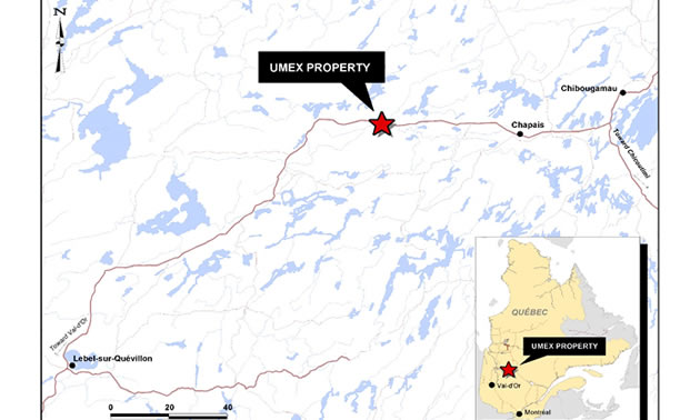 Graphic map, detailing location of the UMEX property in Quebec.