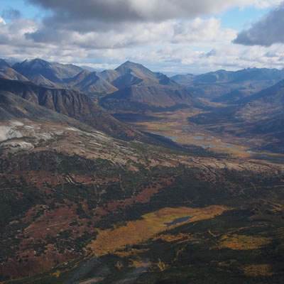 Aerial view of the Macmillan Pass Project in Yukon, Canada.