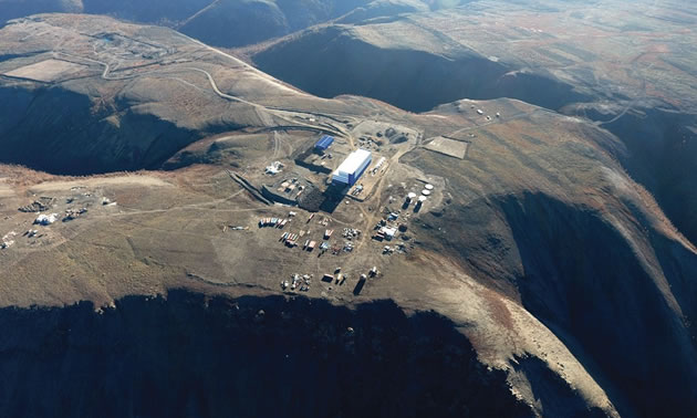 A bird's-eye view of the pit and processing plant at the Mangazeisky Project in Russia.