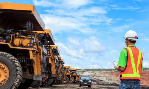 Line of mining trucks.