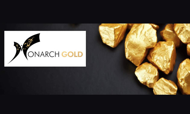 Logo for Monarch Gold Corporation and picture of gold nuggets.