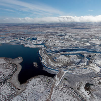 An aerial view of Gahcho Kué, the world's largest new diamond mine.