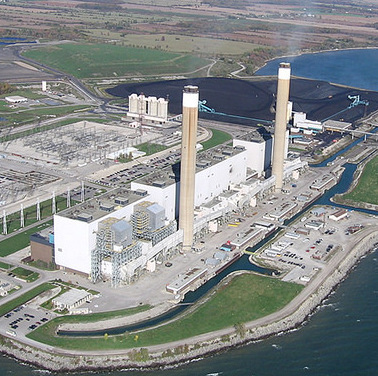 An aerial view of the Nanticoke Generating Station in 2007, when it was still operating. The plant will be converted to a 44-megawatt solar panel farm.